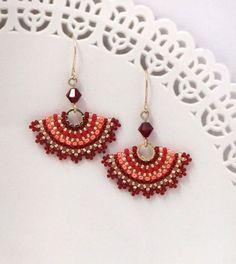 Red earrings Red dangle earrings Orange earrings by LioraBJewelry