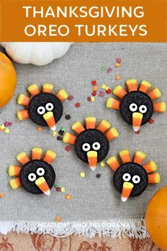 Oreo Turkey Cookies are super cute and an easy Thanksgiving dessert that kids can make. All you need are cookies, candy corn, candy eyes and chocolate! We'll walk you through it step-by-step! Thanksgiving Oreo Turkeys, Cute Thanksgiving Desserts, Thanksgiving Celebration, Thanksgiving Activities, Thanksgiving 2020, Oreo Cookie Recipes, Baking Recipes, Dessert Recipes, Candy Eyeballs