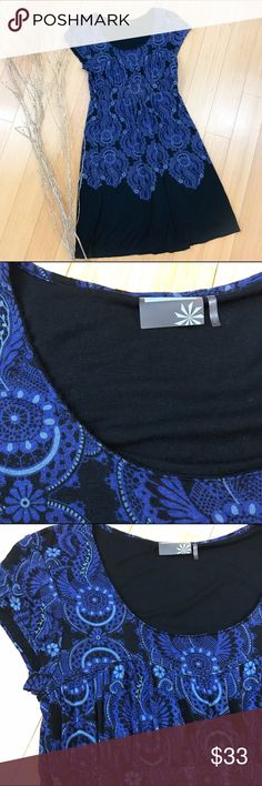 ATHLETA soft modal dress, M. Athleta size medium black and blue dress. Beautiful preloved condition, soft and stretchy material. Bust is 16 inches with a lot of allowance for the ladies, length is 36 inches. A soft pretty dress to put over leggings in the winter. Athleta Dresses