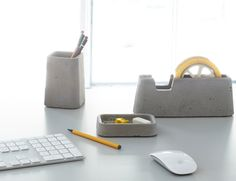 Solid Desk Accessories (made of concrete) from Magnus Pettersen