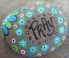 Custom Stone - Hand Painted Prayer Stone ~ Rock of Faith ~ Pray~ Bible Verse ~ Garden/Home Deco Paperweight Blue & Green Seaside Dot Painting, Stone Painting, Pebble Painting, Rock Crafts, Cute Crafts, Prayer Rocks, Painted Rocks, Hand Painted, Rock Painting Designs