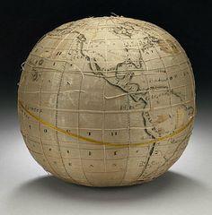 Lydia Satterthwaite, Embroidered terrestrial globe (1817)