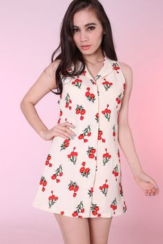 Red Flowers Button Dress