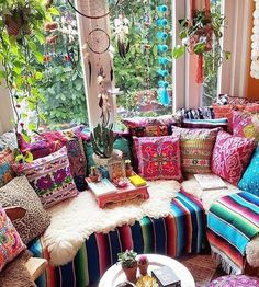 Hippie Bedroom Decor, Hippie Home Decor, Living Room Decor, Diy Home Decor, Bedroom Décor, Handmade Cushion Covers, Handmade Cushions, Shelter, Colorful Apartment