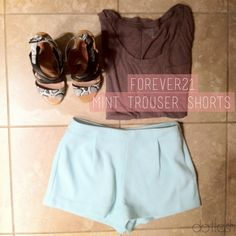 $25 High-Waisted Mint Trouser Shorts on my Socialbliss Store! Sign up to create your own store today if you haven't :D -- #fashion #summer #shorts #mint #highwaisted #pastel #trends
