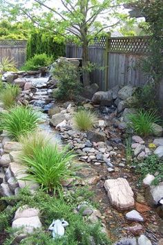 Wild Garden Landscaping Dazzling Cool Backyard Design for Modern House: Traditional Landscape Model Of Home In Asian With Untidy Rocks And Pebbles Setting With Grow. Backyard Stream, Backyard Water Feature, Ponds Backyard, Backyard Landscaping, Landscaping Ideas, Garden Stream, Inexpensive Landscaping, Landscaping Melbourne, Country Landscaping