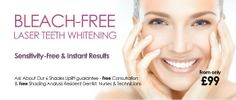 Bleach-Free Laser Teeth Whitening. Half-Price at only £49.50 or 3 for £99. No Sensitivity & Pain Free. Clinics: Swindon, Wiltshire