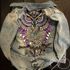 """Купить Джинсовая куртка """"Сова15"""" - продана - голубой, рисунок, джинса, джинсовая куртка, джинсовая одежда"""