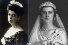 Princess Nicholas of Greece and Denmark wearing her Fringe Tiara (left), and Princess Marina wearing her mother's Fringe Tiara - and not the City of London ...