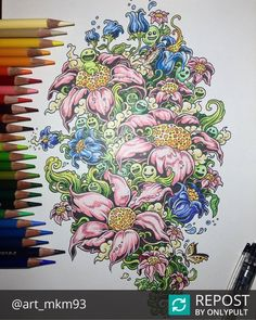 #Repost @art_mkm93  #coloringbook #doodleinvasion #doodle #flowers #leaf #fairy #colorpencil #art #illustration #컬러링북 #낙서침공 #꽃 #풀 #요정 귀여운것들 #zifflin