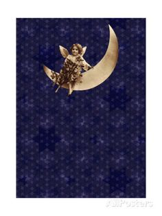 Victorian Child on Crescent Moon Art at AllPosters.com