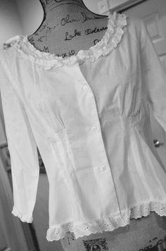 White Cotton Blouse Tapered Womens Medium Ruffles Shabby Chic Career Spring Summer Lagenlook Eyelet Prairie Farmgirl