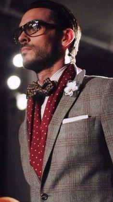 Men's Grey Plaid Blazer, White Vertical Striped Dress Shirt, Burgundy Print Bow-tie, White Pocket Square