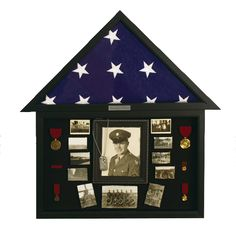 Black burial flag case w/ shadow box combonation.  Mount your medals and any other memorabilia with your flag in this fine shadow box display.   (http://www.militarymemoriesandmore.com/black-wall-mount-flag-case-with-shadow-box/)