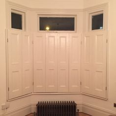 These shutters as 25 mm thick and beaded one side only (or square edged). First two pictures depict different finishes of shutters with the closing furniture catch attached which can be shortened to any length. Wooden Window Shutters, Diy Shutters, Interior Shutters, Interior Windows, Cottage Shutters, Indoor Shutters, Victorian Toilet, Victorian Door, Bay Window Dressing