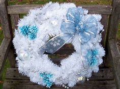 Christmas Wreath.  Evergreen Wreath (artificial Pine).  Only one!  White, large, 18-inch.   www.etsy.com/shop/NaturesCraftSupply