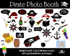 Pirate Photo Booth Props–43 Pieces-Printable Pirate Props–DIY Printable Photo Props–Pirates Party Set-Beards-Hats–Instant Download