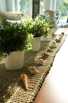 IKEA table runner and potted plants