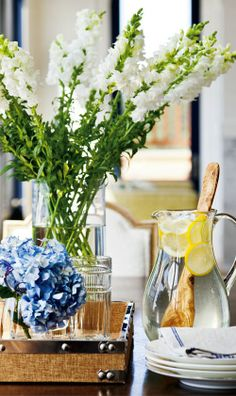 summer/nautical tablescape   white snapdragons and blue hydrangeas   Design Darling: A NAUTICAL HOME