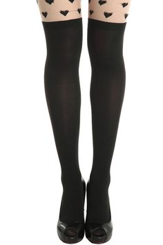 """Hearts"" Pattern Contrasting Black-nude Tights #Romwomen"