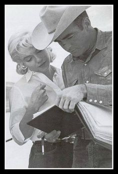 "I love this touching picture of Monty & Marilyn taken on the set of ""The Misfits"" — with Marilyn Monroe and Montgomery Clift."