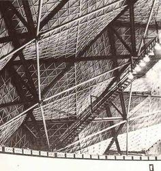 Detalle interior de la cubierta. Palacio de los Deportes, Ciudad Deportiva, México DF, 1966-1968. Arqs. Félix Candela, Enrique Castañeda Tamborrel, y Antonio Peyri. Palace of Sports, Sports City, Mexico City, 1966-1968.