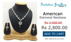 Buy this #American #Diamond #Necklace with Earrings for just Rs. 2,800.00. Offer Valid till 8th June 2014.