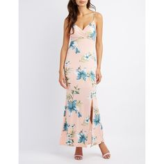 Charlotte Russe Floral Surplice Maxi Dress ($35) ❤ liked on Polyvore featuring dresses, blush combo, empire waist maxi dress, flare dress, flower print maxi dress, charlotte russe dresses and floral dresses