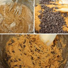 Low-fat (uses pumpkin puree for moistness) Pumpkin Spiced Chocolate Chip Cookies. I can't wait for fall.