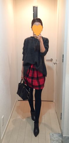 Grey sweater: GALLARDAGALANTE, Plaid skirt: MACPHEE, Bag: Tod's, Boots: Fabio Rusconi