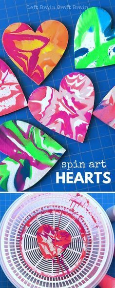 We love the creative sparks that fly when we add process art to our day. So we got out the salad spinner and made these gorgeous Spin Art Hearts!! They're gorgeously swirly and every heart is unique, just like the kids that make them. And the science behind the swirl makes them a perfect STEAM project! So whip up a set of hearts for your Valentine! via @craftbrain