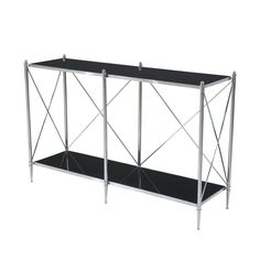 Theodore Alexander A stainless steel and black glass inset console table, the rectangular stainless steel bound top and under-tier between tubular supports and 'X' stretchers, on tapering feet. Inspired by an original table by Mallett of London. Theodore Alexander, Luxury Furniture Brands, Fine Furniture, Black Glass, Innovation Design, Steel Frame, Furniture Makeover, Stainless Steel, London