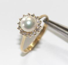 Diamond & Pearl Ring 14k Yellow Gold Ring  6.75 by CastleGoldX, $149.00