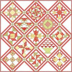 {Sisters and Quilters} - Apple Pie in the Sky - directions for each block - also shows readers' blocks. What a FUN sampler quilt! Love these colors, too! Beginner Quilt Patterns, Quilting For Beginners, Quilt Block Patterns, Quilting Tutorials, Quilting Projects, Quilting Designs, Quilt Blocks, Quilting Ideas, Sewing Projects