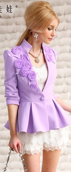 Spring Lilac Jacket over a white ruffle dress