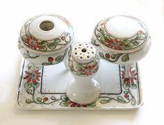 Antique Vanity Set Porcelain Hand Painted on etsy, $95.00