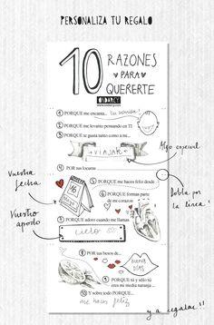 Buenas noches!! Regresamos con un imprimible gratuito muy especial: 10 RAZONES PARA QUERERTE. Un regalo muy especial para San Valentín o cualquier otro día del año. En ONDARCY os damos 5razones pa…
