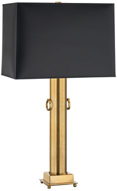 "Ondine 37 1/2"" High Brass Black Parchment Shade Table Lamp -"