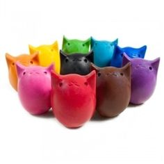 Super cute kitty shaped crayons. Equal to 8 regular crayons each. Bright colors. Made in USA - Oregon OHSAYUSA.com $17.99