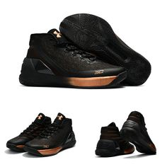 "February 17,2017 Shoes Under Armour Curry 3 ""Bronze"" Black Metallic Red Bronze"