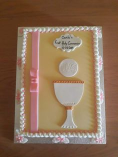First Holy Communion, Holi, Cake Decorating, Container, Frame, Picture Frame, First Communion, Holi Celebration, A Frame