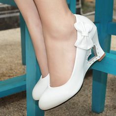 New style free shipping Big size Casual bowtie Patent Leather wedges high heel shoes womens pumps wholesale JF 1-in Pumps from Shoes on Aliexpress.com
