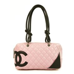 2d12b000552b Pre-Owned Chanel Pink Leather Cambon Black CC Bowler Satchel Handbag  ( 1