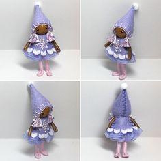 Christmas bendy doll. Snowflake elf handmade by www.pntdolls.com