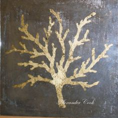 Cracked gold leaf coral on antiqued mirror