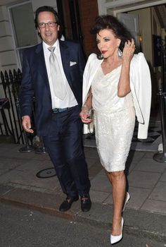 2014 joan collins, sequin dress, tracey emin birthday party, mark's club
