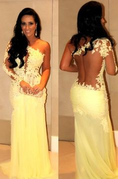 New Hottest One Shoulder with Long Sleeves Sexy Sheer Back Mermaid Bright Yellow Prom Dress/Evening Dress/ Lace Floral Applique Party Dress on Etsy, $189.00