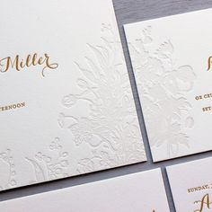 Pale Floral letterpress wedding invitation in square format with embossed romantic flowers and gold ink