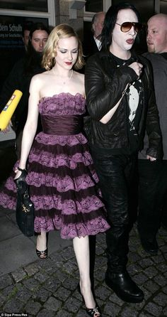 Evan Rachel Wood and Marilyn Manson in She was 19 and he 36 - 17 years difference - when they dated Evan Rachel Wood, Vintage Tea Party Dresses, Vintage Outfits, Marilyn Manson, Beautiful Gowns, Betsey Johnson, Clothes, Mail Online, Daily Mail