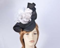 Black white cocktail fascinator hat Melbourne Cup races buy online in Australia S114BW